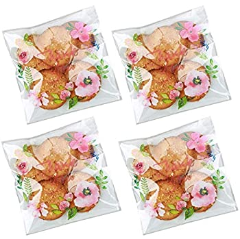 Efivs Arts 200pcs 5.5x5.5in Thank You Candy Bags Individual Cookie Wrappers Pink Flower Self Adhesive OPP Cookie Bakery Bags Roasting Treat Gift DIY Translucent Plastic Bags for Graduation