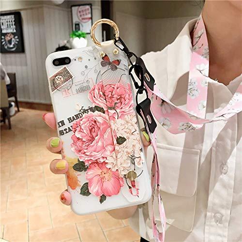 MFKW Apple mobiele telefoon case bloem met lanyard halter polsband wind vrouwelijke mode reliëf matte siliconen zachte schaal, 7p / 8plus pink pattern 348 [Free supporting 2 lon
