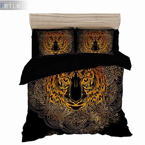 ADONINELP Bettwäsche-Set,3D-Kunst modernes Muster, goldenes Totemtigerkopfporträt des schwarzen Hintergrunds1 Bettbezug:135 * 200cm+ 2 Kopfkissenbezug 50x80cm