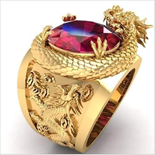 Hongcaihu Creative Double Dragon Play Bead Shape Ring Fashion Set Hand Made Ruby Ring 18K Gold product image