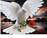 ahjs457 Puzzle para Adultos 1000 Piezas Puzzle para niños Paloma de la Paz y Flores