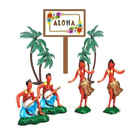 Hawaiian Island Dancers & Musicians Hula Miniature Luau Cake Cupcake Toppers with Palm Trees