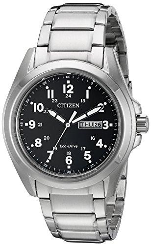 Citizen Eco-Drive Garrison Quartz Mens Watch, Stainless Steel, Field watch, Silver-Tone (Model: AW0050-82E)