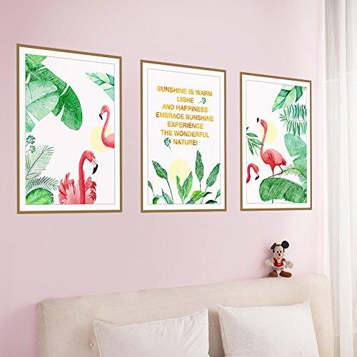 HCCY Purificateurs d'air idylliques Flamingo animal photo cadre mur autocollant art chambres salon fond mur décorations 86 * 40 cm