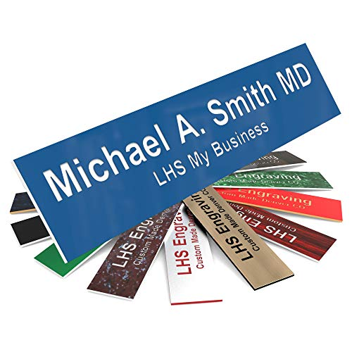 LHS My Business | Engraved Name Plates for Door Sign Personalized Blue Plastic Plaque with White Letters | 2x8 - B9