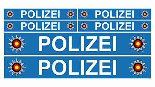 Finest Folia 6 x Polizei Auto Boot Caravan Bus Bike Fahrrad Aufkleber Plakette RC Car Modellbau (R023 Blau)