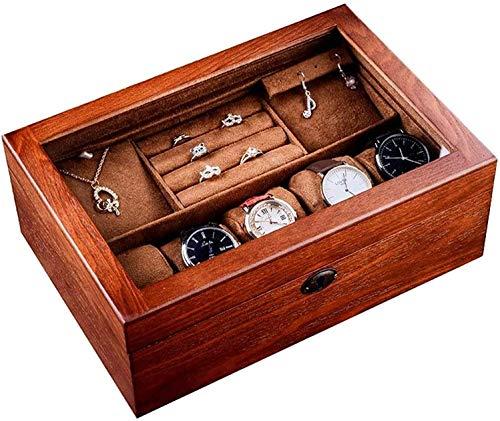 MQJ Reloj de Alenamiento Caja de Madera Reloj de Madera Caja de Joyería con Cerradura Caja de Madera Caja de Madera Doble Caja de Alenamiento Caja de Visualización Accesorio de Viaje Caja Fuerte Y Fu