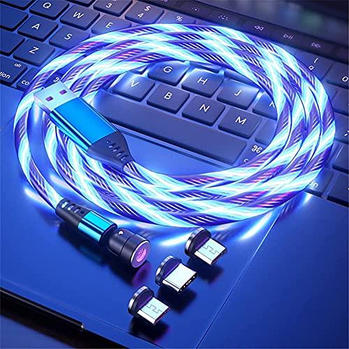 Fließendes LED Magnetisches Ladekabel 1M/2M 360° und 180° Drehung 3A Schnellladen Magnet USB kabel Sichtbar Bunt Aufleuchtendes 3-in-1 Magnetkabel für Android,Micro-USB,Type C,Smartphone Tablette