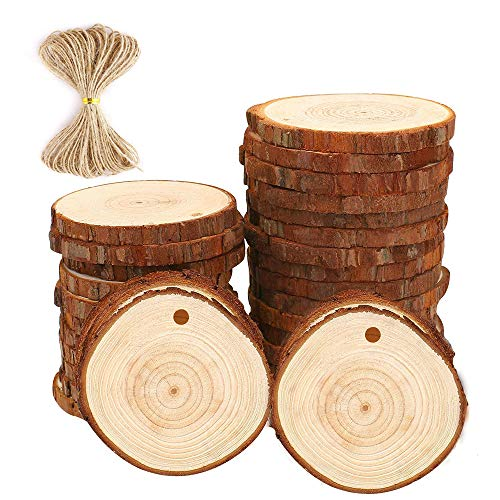 Natural Wood Slices Craft Wood kit Unfinished Predrilled with Hole Wooden Circles Great for Arts and Crafts Christmas Ornaments DIY Crafts (30pcs 2.75'-3.14')
