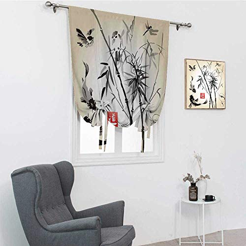 """GugeABC Bamboo Leaves Blackout Curtains, Bird and Fish Traditional Japanese Painting Bamboo Oriental Art Landscape Hand Drawn Ink Thermal Insulated Blackout Curtain, 35"""" x 64"""""""
