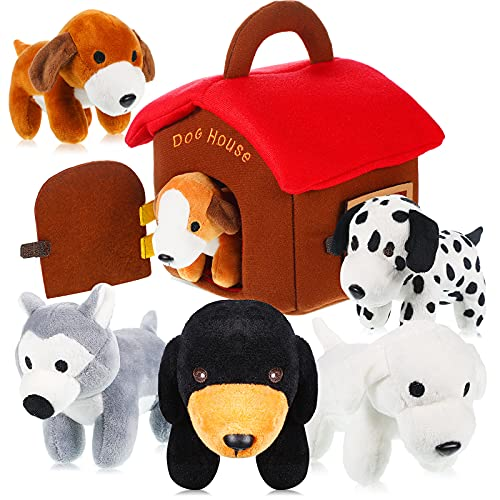 7 Pieces Stuffed Dog Set with Large Plush Dog House Carrier Plush Dog Toy Stuffed Animals Set Educational Plush Puppy Toys Present for Kids Party Decorations Christmas Stocking Stuffers