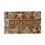 DII Home Natural Coir Doormat, Indoor/Outdoor, 18x30, Welcome Seashells