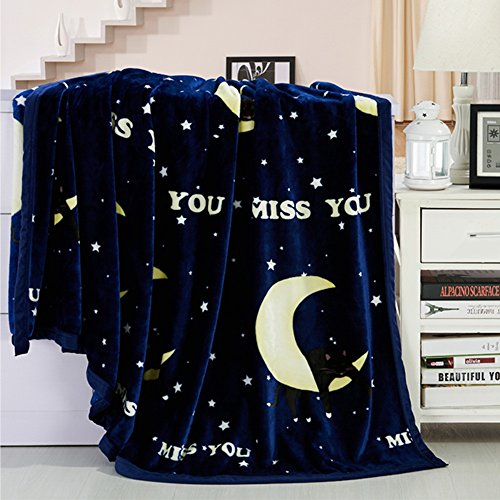 Global- Lune et les étoiles motif couvertures bureau de couverture loisirs couverture Climatisation couverture siesta couverture de loisirs feuilles tapis de lit Coral polyester tapis