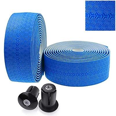 KINGOU Road Bike Handlebar Tape PU Anti-Slip Fixed Gear Bicycle Bar Tapes - Blue