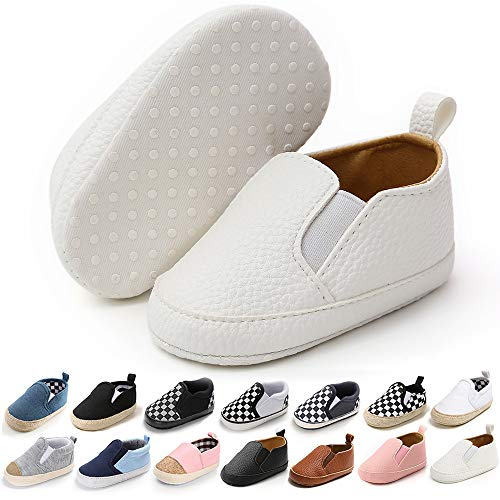 Baby Boy White Canvas Slip on Shoes