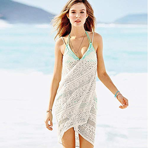 Chiffon strandkleding kwastje strandjurk bikini, diepe V-kant gehaakte badpak, bikini strandrok-wit_Een maat, badpak strandkleding lingerie