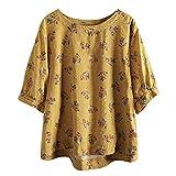 Julhold Blusa para mujer, talla grande, camiseta de algodón, estilo vintage, bohemio, estampado floral, sueltas