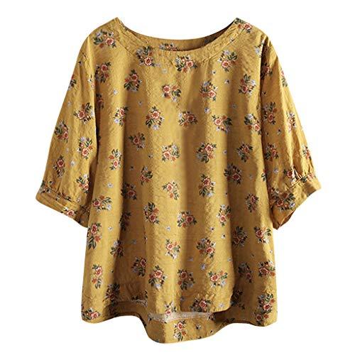 VEMOW Heißer Elegante Damen Casual Plus Größe Baumwolle Tops T Shirt Vintage Boho Floral Lose Bluse(X1-Gelb, 38 DE/M CN)
