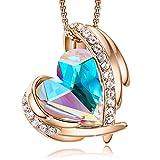 Colliers en or rose pour femmes avec pendentifs cœur embellis avec des cristaux de colliers bijoux cadeau de fête des mères pour femmes filles CDE (Or/Multicolore)