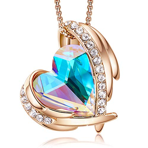 CDE Love Heart Pendant Necklaces for Mothers Day Silver Tone Rose Gold Tone Crystals Birthstone Mothers Day Jewelry Gifts for Women Party/Anniversary Day/Birthday