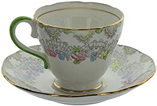 Vintage Salisbury England Bone China Pastel Floral Pattern Tea Cup and Saucer Set With Gold Trim & Green Handle