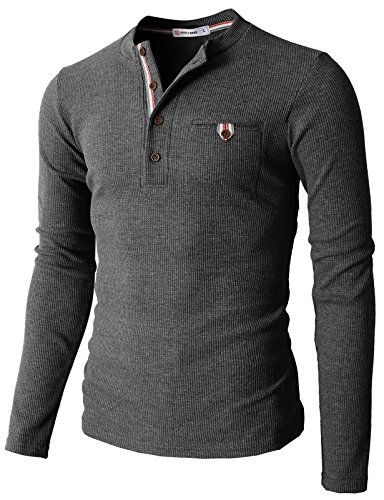 H2H Mens Casual Slim Fit Henley Shirts with Bound Pocket of Waffle Cotton Charcoal US L/Asia XL (KMTTL062)