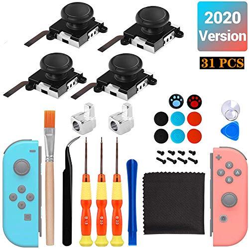 Facio 4 Recambios de 3D Joystick Analógico para Joysticks Nintendo Switch Joycons, con Destornillador Herramientas de Reparación Repuestos(31 Piezas)