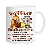 DOPHOME mug To My Dear Son In Law Mug- Dear Son-in-law Christmas presents mugs,Lion Mother In Law To My Dear Son In Law Mug,Son in law from Mother-in-law coffee cup , 11 oz Novelty Mug