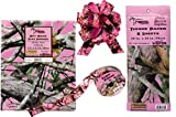Pink Camouflage Gift Wrapping Supplies: Bundle Includes Flat Wrapping Paper - 4 Sheets, Tissue Paper - 8 Sheets, 3 Pull-Bows, and Ribbon