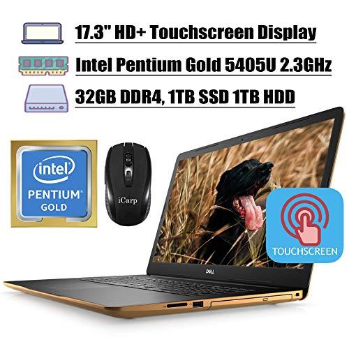 Dell Inspiron 17 3780 3000 2020 Premium Laptop Computer 17.3' HD+ Touchscreen Display Intel Pentium Gold 5405U 32GB DDR4 1TB SSD 1TB HDD UHD Graphics 610 WiFi HDMI Win 10 + iCarp Wireless Mouse