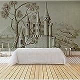 Custom Fototapete - Altes Schloss der europäischen Stereoentlastung 3D - Wandbild Non-Woven Wohnzimmer Fernseher Sofa Hintergrund Tapete Fototapeten 400 x 280 cm