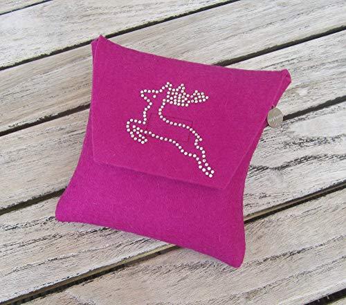 zigbaxx Wiesn-Bag SPRINGBOCK/Trachtentasche, Gürteltasche, Bauchtasche, Dirndl-Tasche aus Woll-Filz mit Hirsch aus Strass, grau schwarz pink beige braun- Geschenk Weihnachten Geburtstag