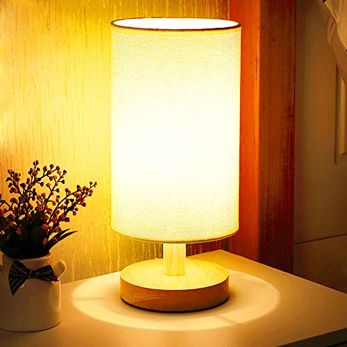 Round Bedside Table Lamp (Warm White), Nightstand Lamp with (Khaki) Fabric Shade and Solid Wood for Bedroom, Living Room Modern, Office, Kids. (LED Bulb Included)