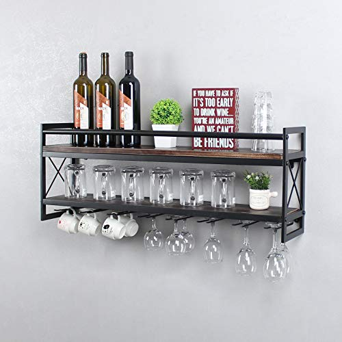 OISSIO Industrial Stemware Rack,Wine Rack Wall Mounted with Wood Shelves,2 Tier Stemware Storage with 8 Stem Glass Holder for Wine Glasses,Mugs,Home Decor,Retro Black(36 inch)