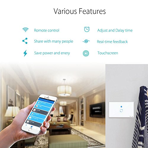 Sonoff Wifi Smart Switch Wireless Touch Switch Panel Tempered Glass LED Light Wall Switch