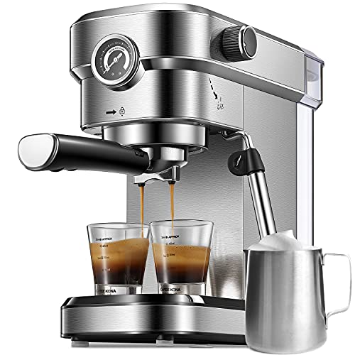 Espresso Machine, 15 Bar Espresso Maker with Milk Frother Wand and Compact Design, Professional Espresso Coffee Machine for Cappuccino and Latte