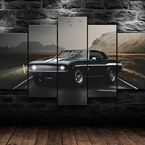 AWER Cuadro en lienzo abstracto moderno impresión de 5 piezas Shelby Camaro Muscle Car Hd Lienzo Decorativo para Tu Sala De Estar Dormitorios Decoración para El Hogar