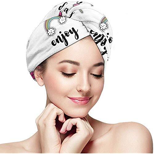 mahada Snel Droog Haar Wrap Handdoeken Turban, Gelukkige Liefste Dag Geniet En Liefde IJs Cake Donut Lippen Watermeloen Snoepjes