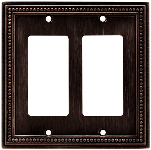 Brainerd 64403 Beaded Double Decorator Wall Plate / Switch Plate / Cover, Venetian Bronze