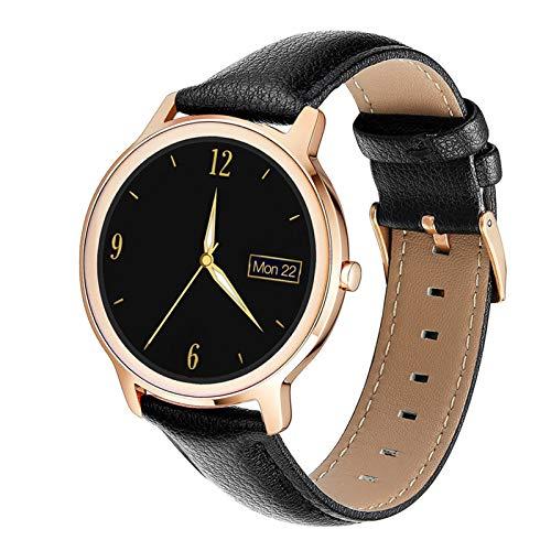 Smart Watch Waterproof Smart Watch Mujeres Encantadora Pulsera Presión Arterial Monitor de muñeca Lady Reloj de muñeca para iOS Android (Color : Black Leather Strap)