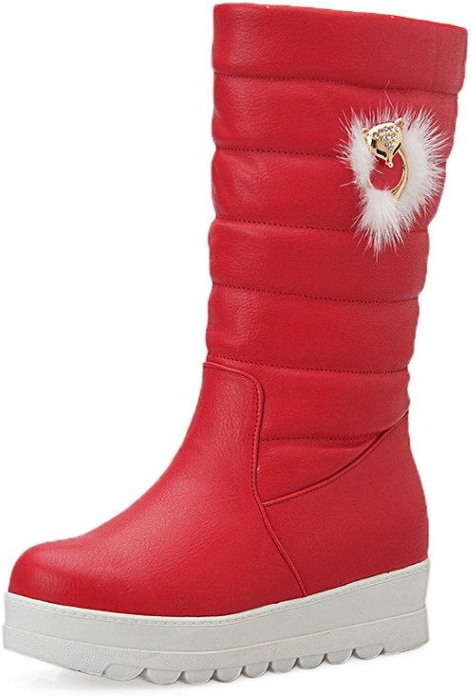 AllhqFashion Women's Solid PU Kitten-Heels Pull-On Round Closed Toe Boots