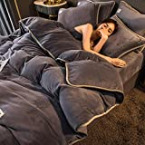 Juego de edredón con 9 fundas de almohada-Invierno franela gruesa de doble cara más abajo funda nórdica cama individual...