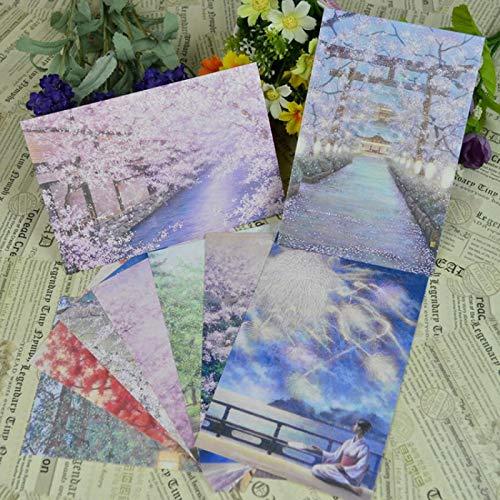Estilo Antiguo Japonés Pintado A Mano Paisaje Ilustración Postal Tarjeta De Felicitación Fresca Tarjeta Pequeña 9 Negativo En Blanco