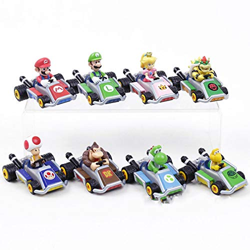 MIAOGE Mario Giocattoli Super Mario Kart Pull Back Car Luigi Bowser Koopa Donkey Kong Princess Peach Toad Mushroom Cars Figure Giocattoli per Bambini 8 Pezzi / Set