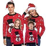 Aibrou Suéter de Navidad Familia,Jerséis Navideños Cuello Redondo,Invierno Suéter Sweaters...