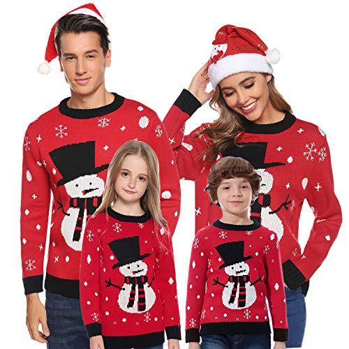 Aibrou Damen Schneemann Weihnachtspullover Festliche Gestrickte Pullover Rundhals Sweater Strickpullover Rot-Mutter S