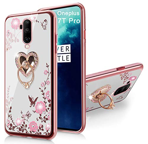 Oneplus 7T Pro Case Glitter Crystal Butterfly Heart Floral Series-Cute Case for Girls Women, Slim Bling Rhinestone Soft TPU Protective Clear Case with Ring Stand Holder for Oneplus 7T Pro-Rose Gold