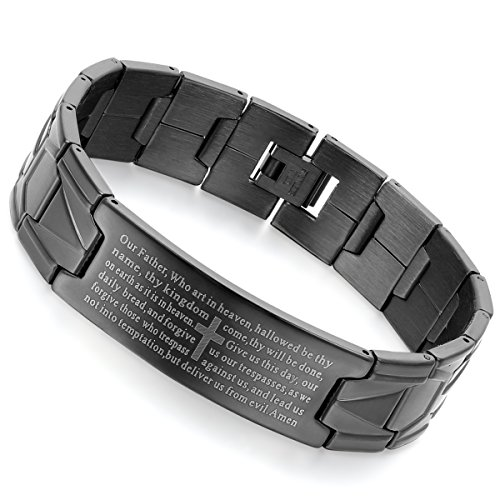 Flongo Men's Vintage Stainless Steel Black Cross Black English Bible Lords Prayer Link Wrist Bracelet, 8.3 inch Christmas