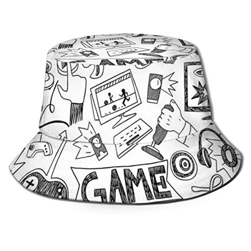 Unisex Summer Fisherman Cap,Monochrome Sketch Style Gaming Design Racing Monitor Device Gadget Teen 90s,Travel Beach Outdoor Sun Hat