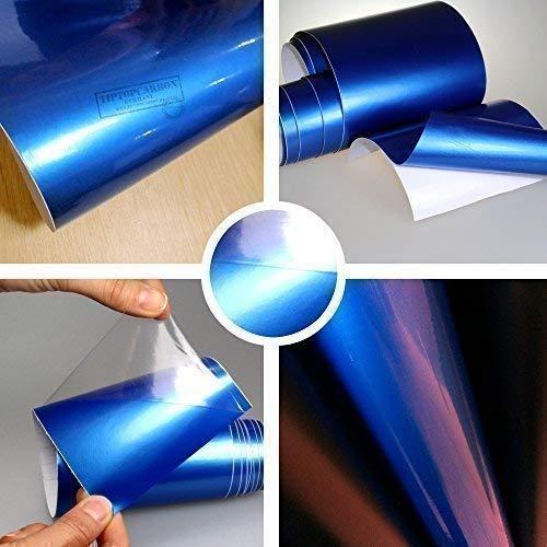 TipTopCarbon 8,55€/m² Glanz Hochglanz Blau metallic 152cm breit Blasenfrei Autofolie selbsklebend mit Luftkanäle 3D Flex Folie Auto